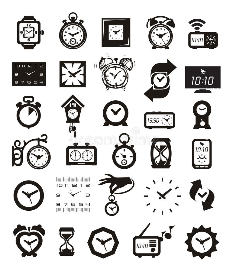 Clock Icons Set Stock Photo