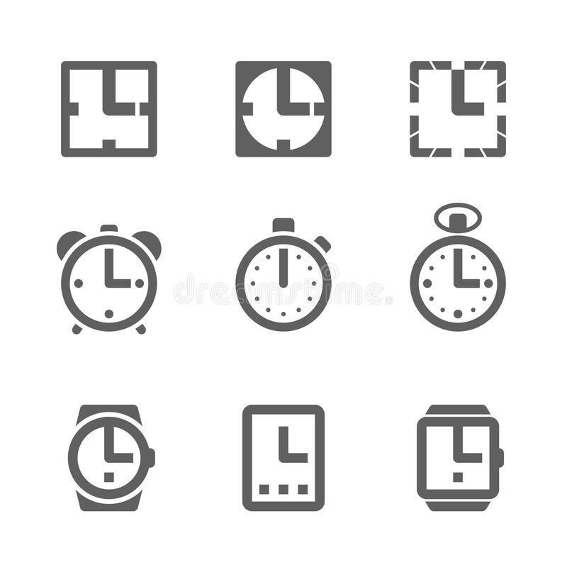 Clock icons. Set of clock icons illustration royalty free illustration