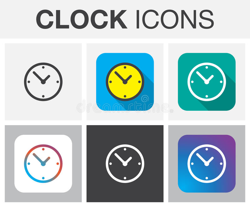 Clock icons vector isolated on gray. royalty free illustration