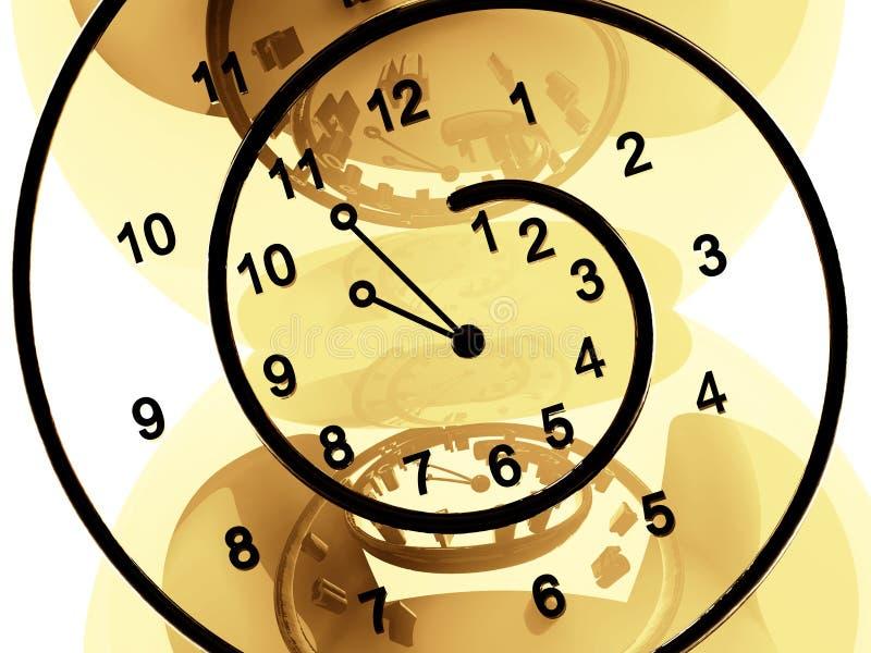 Clock of infinite time on beige background stock illustration