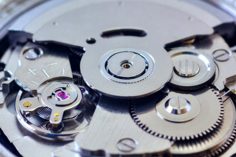 Clock inside. Mechanical clock inside closeup view stock images