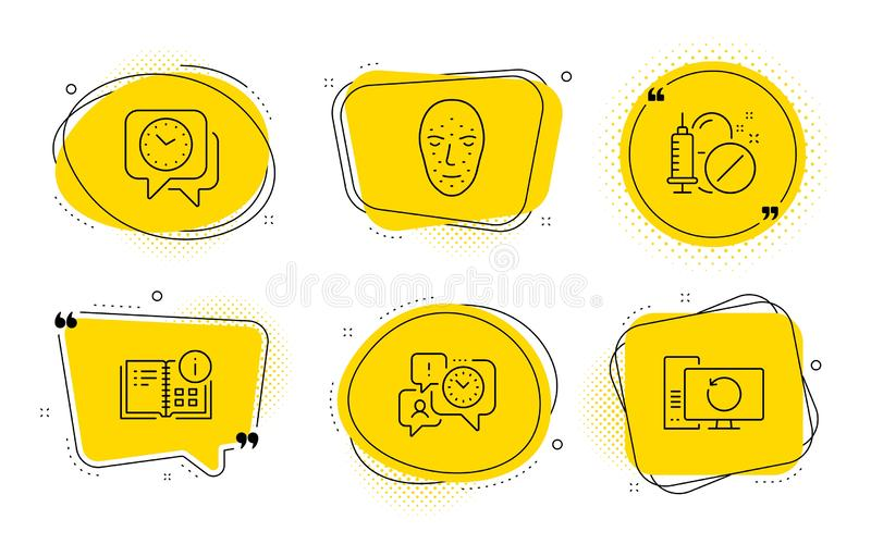 Face biometrics, Time management and Medical drugs icons set. Vector. Clock, Instruction info and Recovery computer signs. Chat bubbles. Face biometrics, Time vector illustration