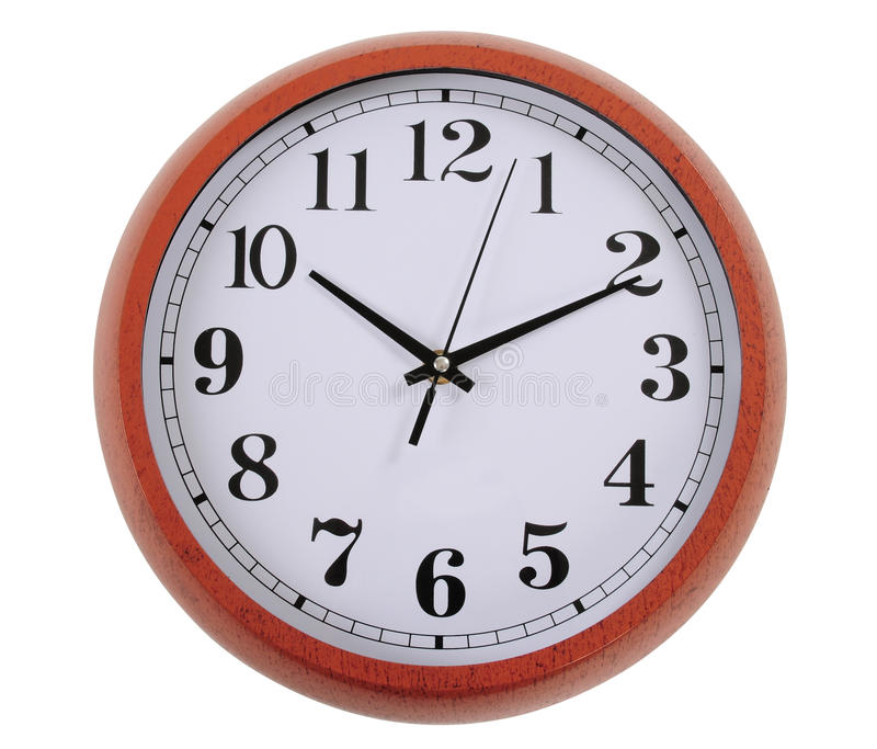 Clock. Isolated. Wall clock isolated over white background royalty free stock photos
