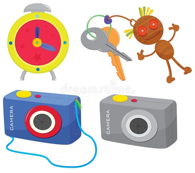 Clock, keys and camera stock illustration