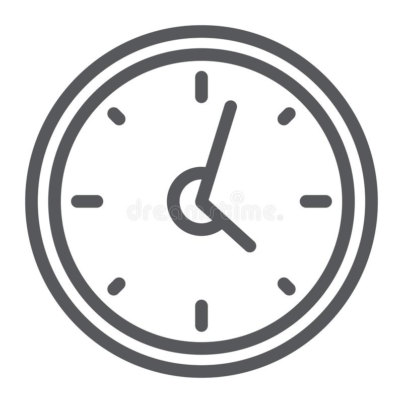 Clock line icon, hour and time, wall watch sign, vector graphics, a linear pattern on a white background. vector illustration