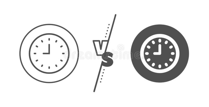 Clock line icon. Time or Watch sign. Vector. Time sign. Versus concept. Clock line icon. Office Watch or Timer symbol. Line vs classic clock icon. Vector stock illustration