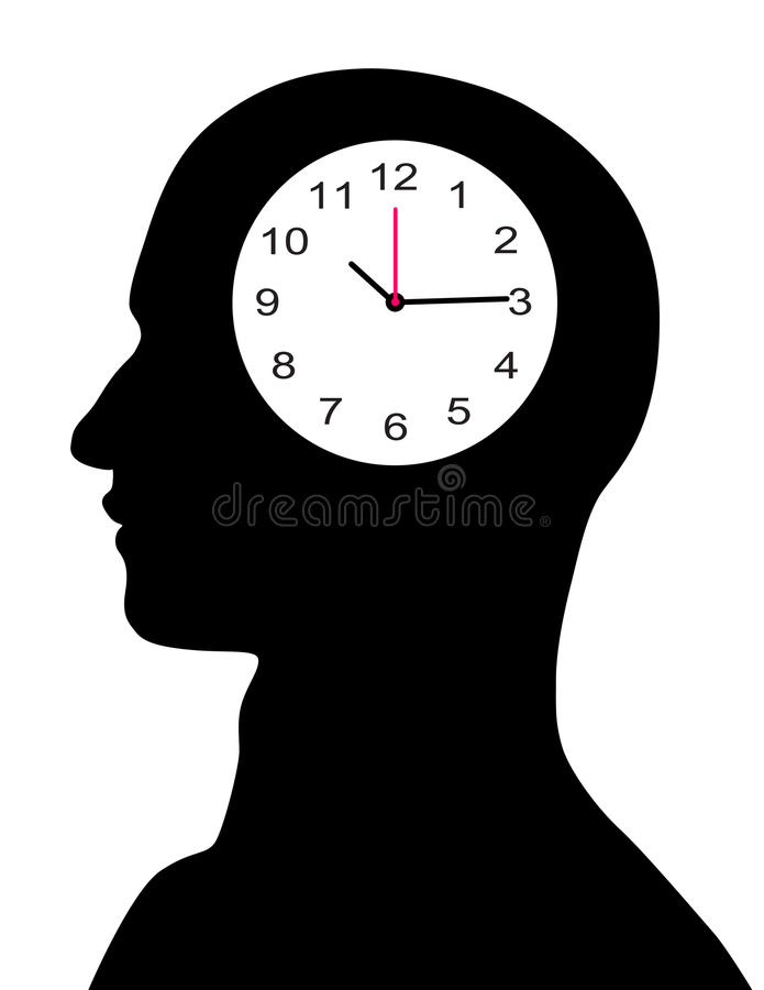 Clock in the male mind stock illustration