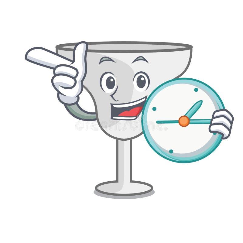 With clock margarita glass character cartoon. Vector illustration stock illustration