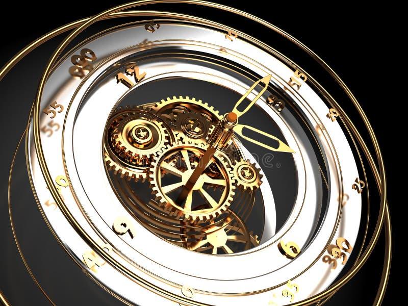 Clock mechanism stock illustration