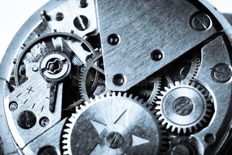 Clock mechanism close-up view, Clockwork. Detail clock mechanism background close-up macro focus stock images