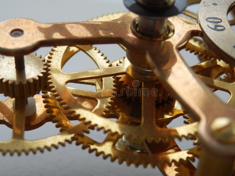 Clock mechanism. A macro on a clock mechanism stock images