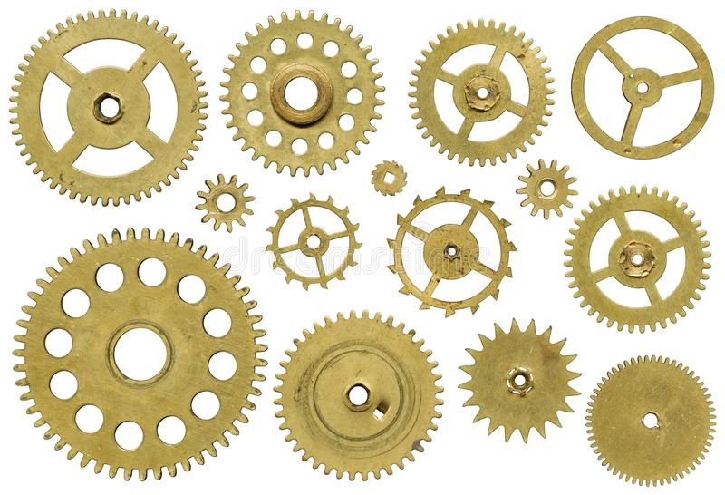 Clock mechanism. Clock mechanism, a set of pinion on white background royalty free stock photos