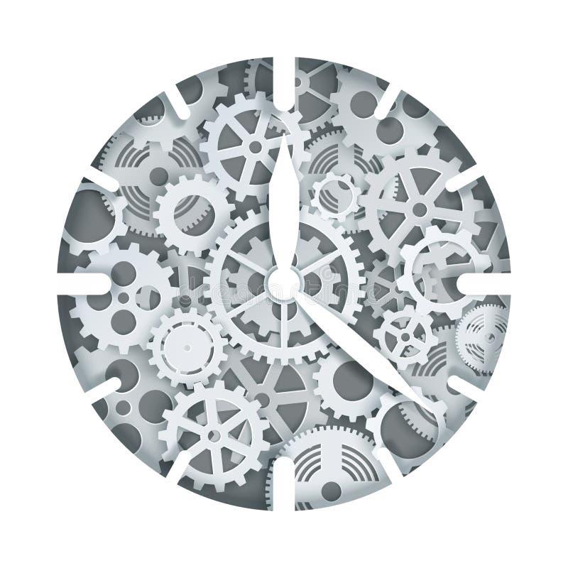 Clock mechanism, vector illustration in paper art style royalty free illustration