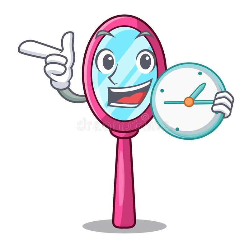 With clock mirror isolated with on the mascot stock illustration