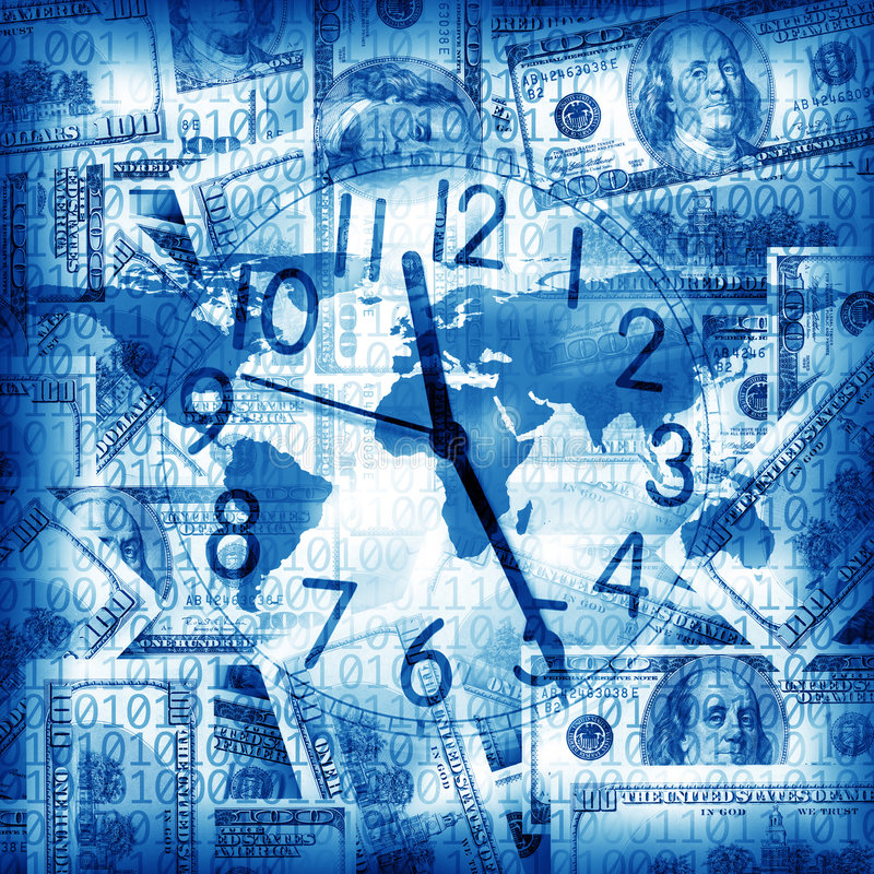 Download Clock and money stock illustration. Image of globe, making - 7108990
