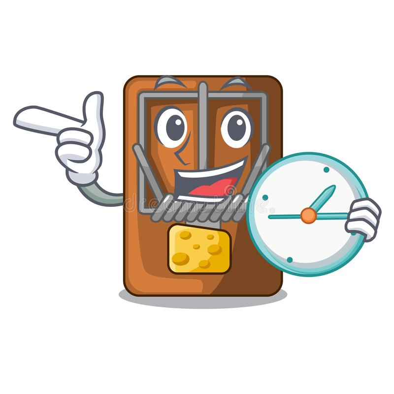 With clock mousetrap in the shape mascot wood. Vector illustration stock illustration