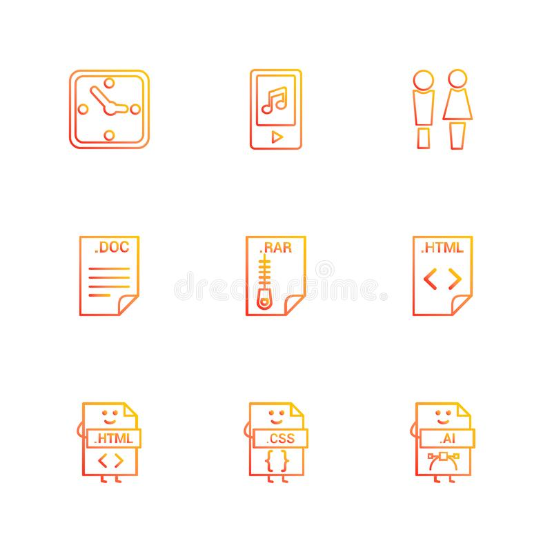 Clock , mp4 , male female , doc , rar , compressed file , html. Code , css , ai , icon, vector, design, flat, collection, style, creative, icons - This Vector stock illustration