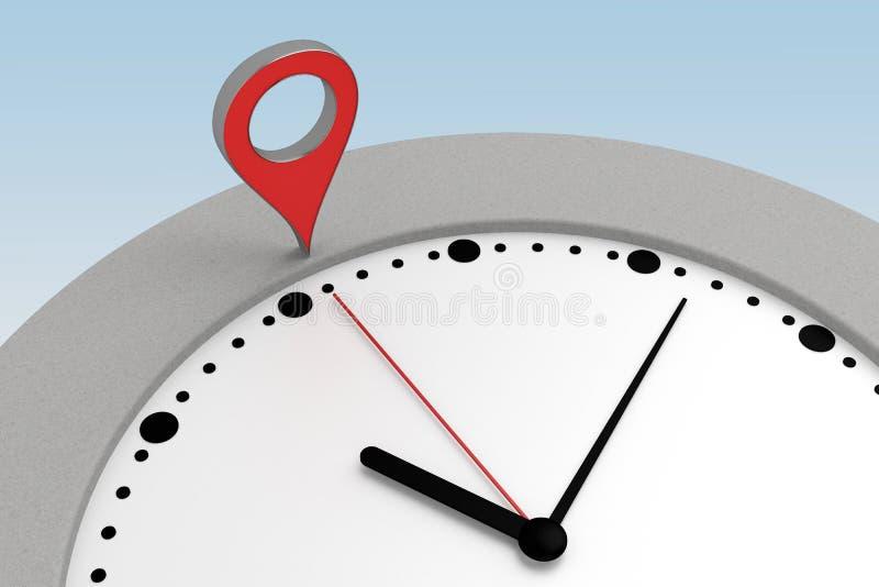 Clock with navigation marker. 3d rendering stock illustration
