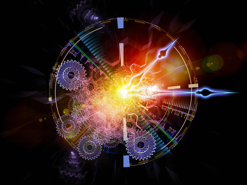 Clock nebulae. Composition of clock hands, gears, lights and abstract design elements suitable as a backdrop for the projects on time sensitive issues, deadlines vector illustration