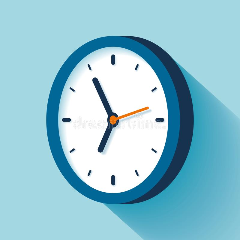 3d Clock icon in flat style, timer on blue background. Business watch. Vector design element for you project royalty free illustration
