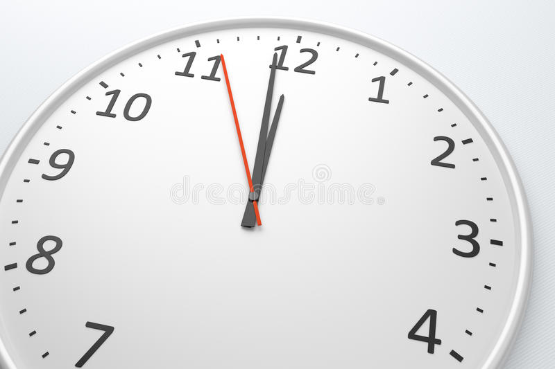 Clock at noon royalty free illustration