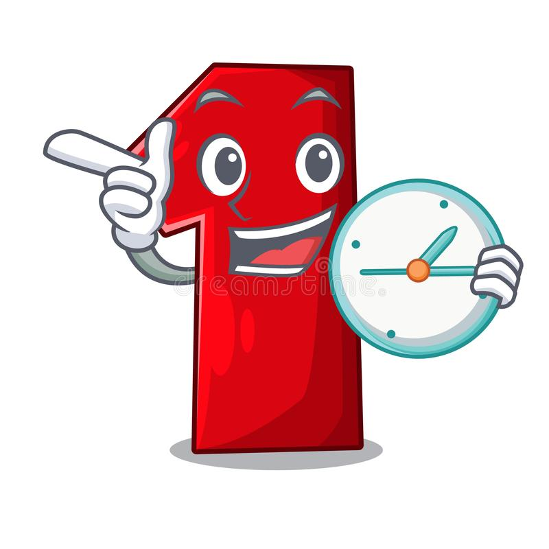 With clock number one index finger on cartoon stock illustration