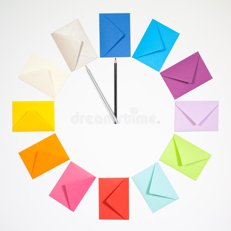 Free Clock Of Colored Envelopes For Christmas Mailing. Royalty Free Stock Photos - 79490098