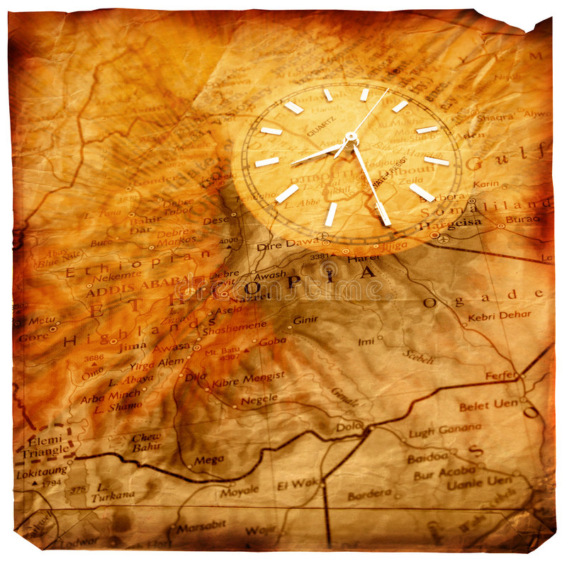 Clock with old map stock illustration