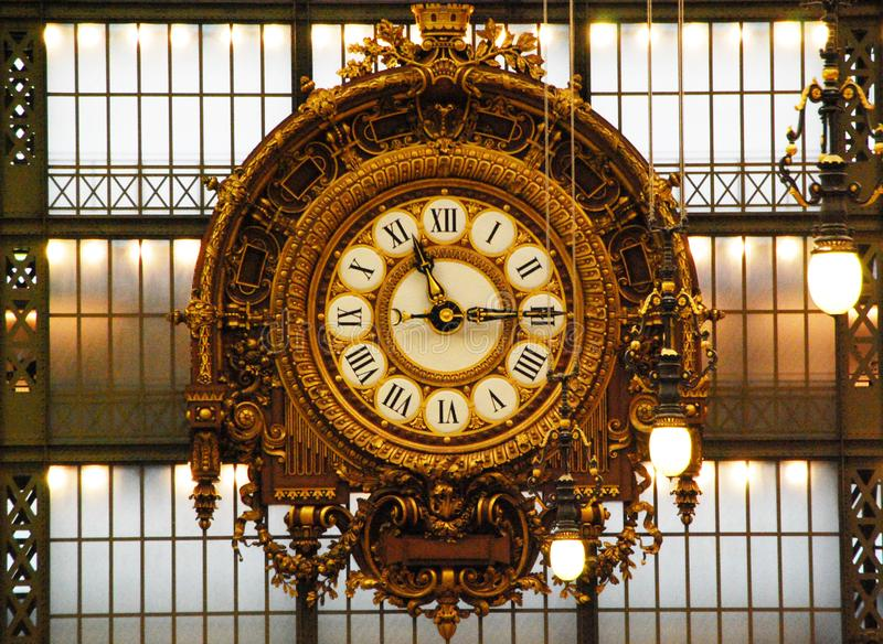 The clock of the old railway station. Musee d`Orsay, Paris, France. The clock of the old railway station. Musee d`Orsay, Paris royalty free stock photos