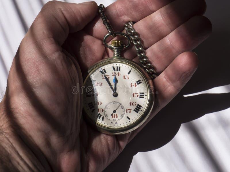 Clock old retro wrist watch in hand stock photo