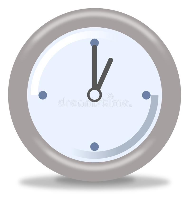 Clock One. Silver and blue clock on white background showing one royalty free illustration