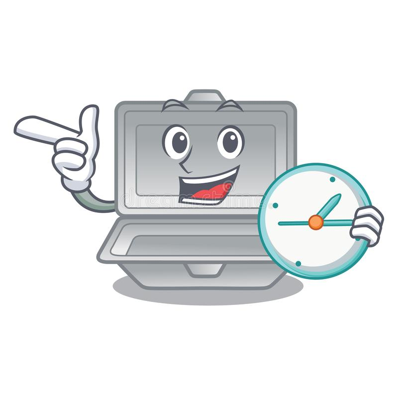 With clock open styrofoam isolated with the mascot. Vector illustration vector illustration