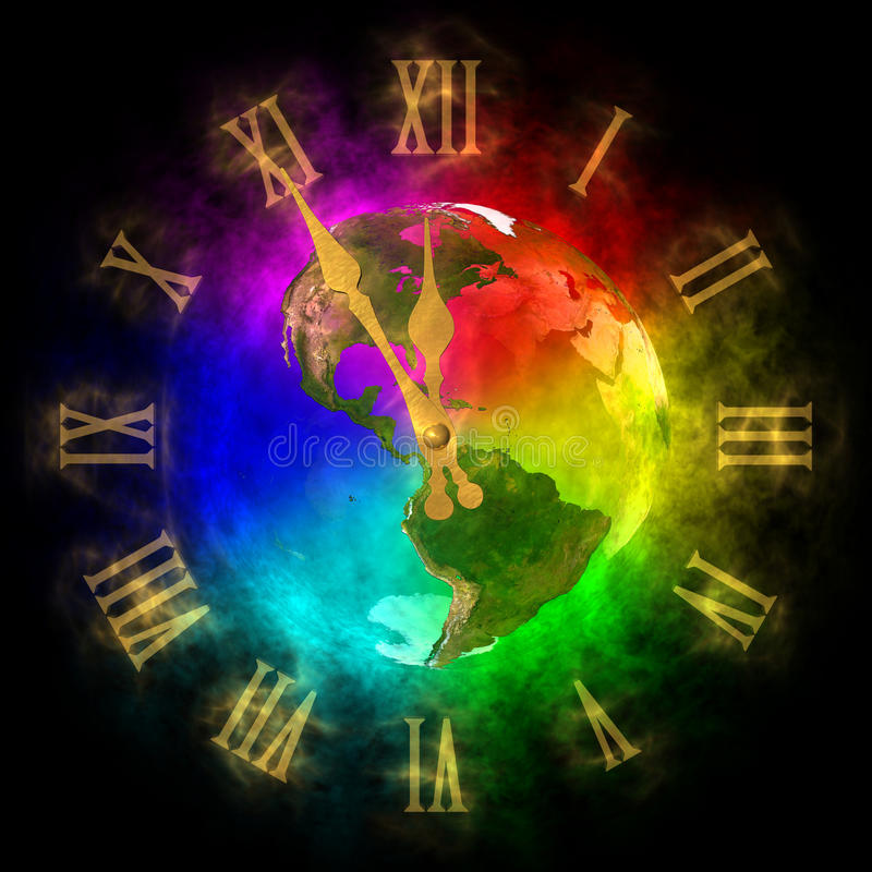Clock - optimistic future on Earth - America. Illustration of cosmic clock. Theme of future on Earth. It is five to twelve on clock but the future is optimistic vector illustration