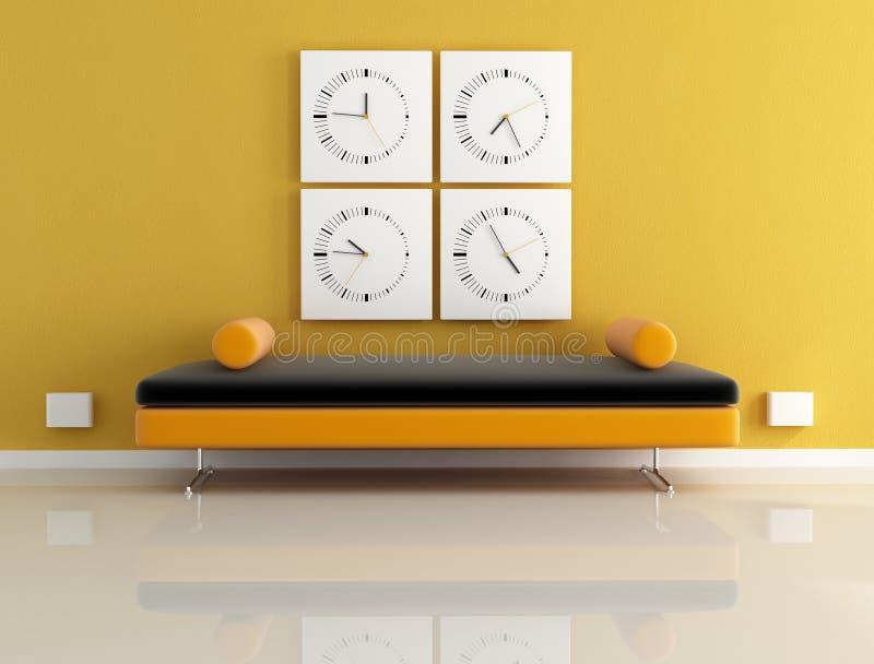 Clock And Orange Sofa Royalty Free Stock Photography