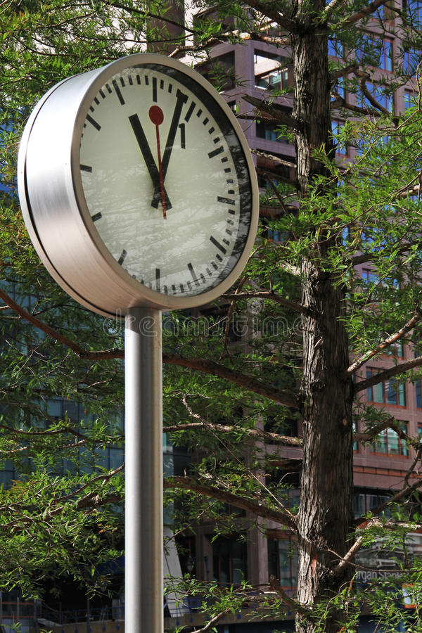 Clock in Park at Canary Wharf stock image