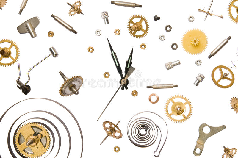 Clock parts. Parts of clock mechanism on pure white background stock image
