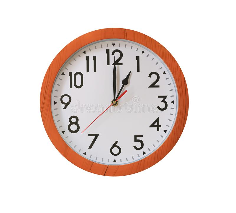 clock of pattern brown wood in One o'clock isolated on white bac royalty free stock photo