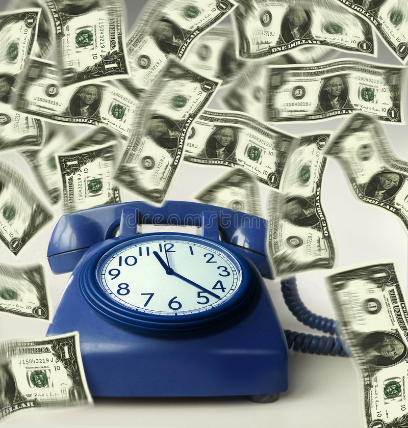 Clock On Phone And Money Stock Image