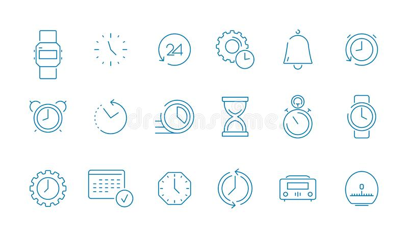 Clock pictogram set. Fast time management computer timing calendar vector thin line icon collection. Illustration of timer and outline alarm stopwatch royalty free illustration
