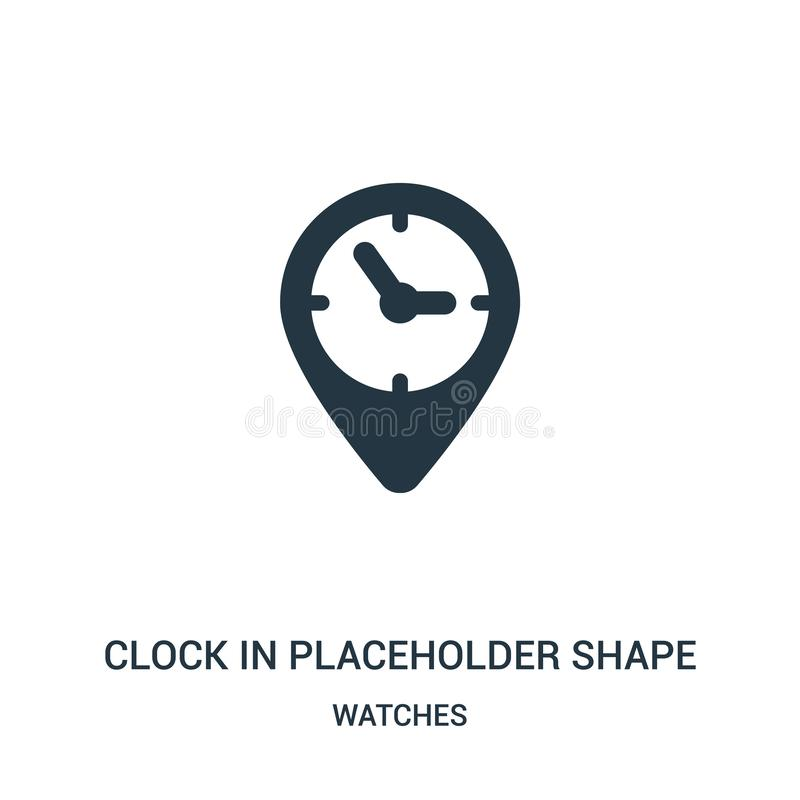 clock in placeholder shape icon vector from watches collection. Thin line clock in placeholder shape outline icon vector royalty free illustration