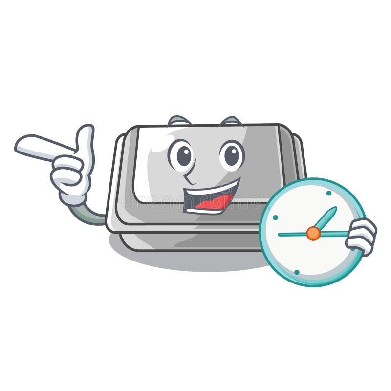 With clock plastic box in the mascot shape. Vector illustration stock illustration