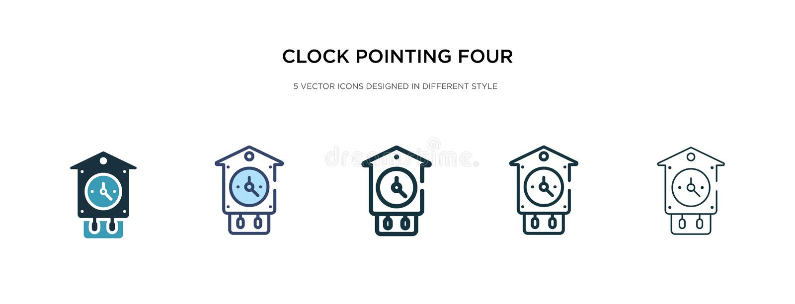Clock pointing four o`clock icon in different style vector illustration. two colored and black clock pointing four o`clock vecto royalty free illustration