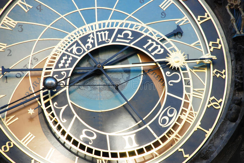 The clock in Prague stock images