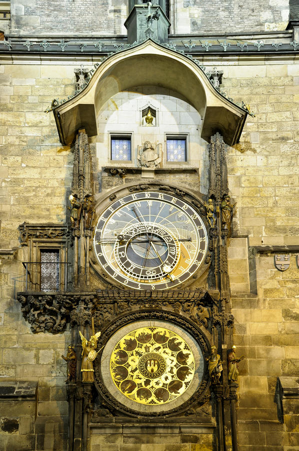 Clock In Prague (Praha) Royalty Free Stock Images