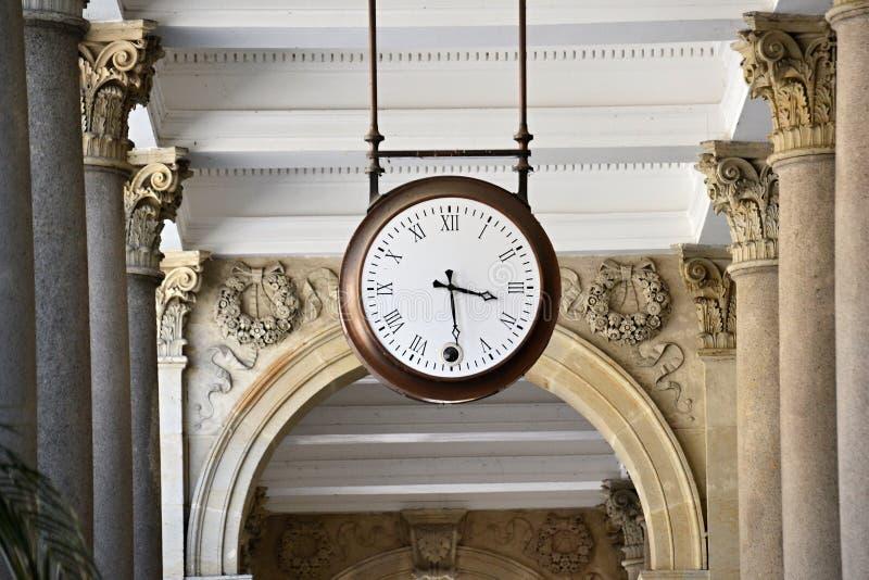 The clock on promenade in Karlovy Vary royalty free stock image