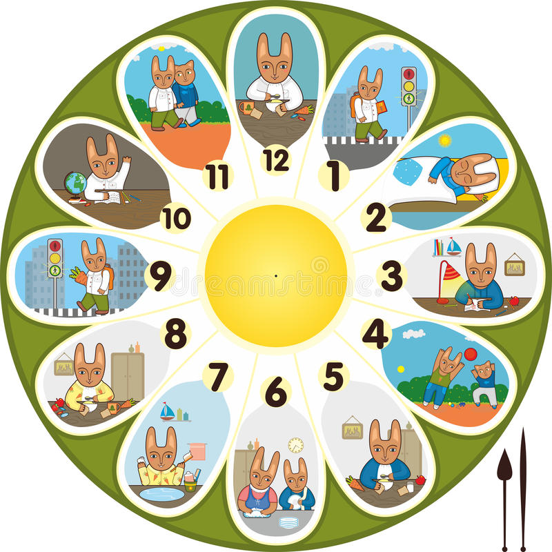 Download Clock Rabbit Schoolchild stock vector. Illustration of room - 24243431