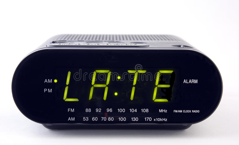 Clock Radio with the word LATE stock photo