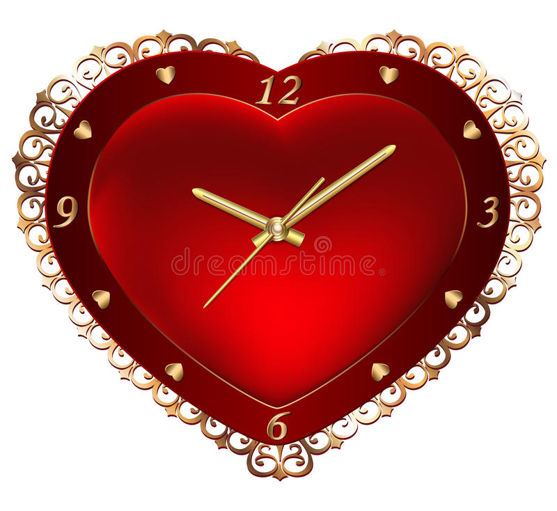Clock with red hearts. Gold watches and clocks on a background of red velvet heart with floral ornament vector illustration