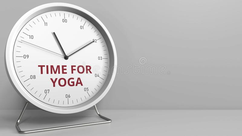Clock with revealing TIME FOR YOGA caption. Conceptual 3D rendering. Clock face with revealing text. Conceptual 3D stock illustration