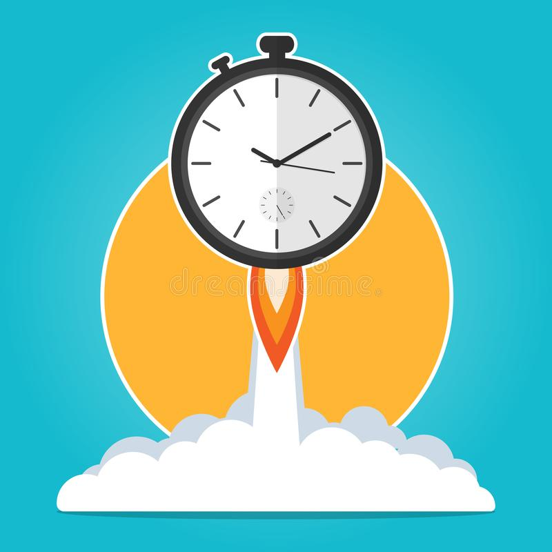 Clock rocket launch up,time to work time is running,deadline concept flat vector stock illustration